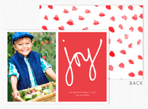 """joy"" on Red Flat Photo Holiday Card"